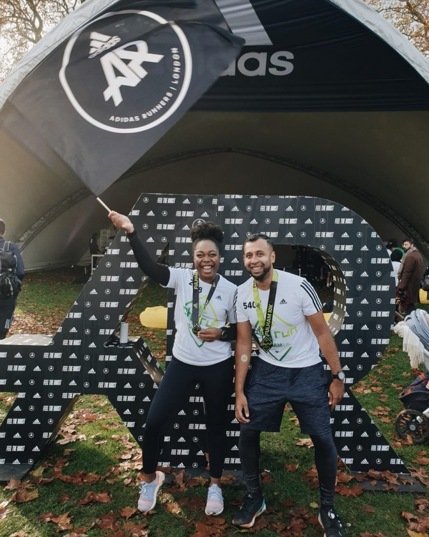 Shakil and I celebrating completing the Fulham 10km in 2019